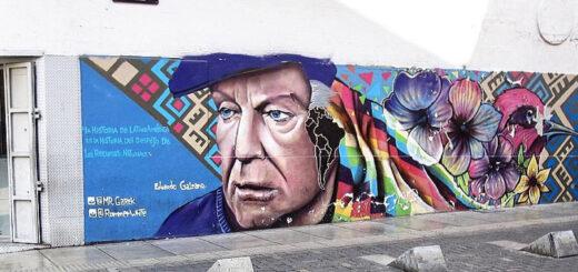 Graffiti Bild von Eduardo Galeano an einer Hauswand