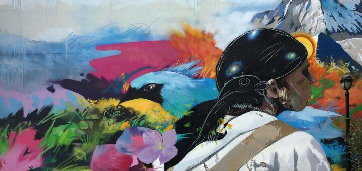 buntes Graffiti mit einem Berg, Blumen und einer Frau im Profil