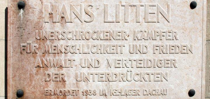 Gedenktafel Hans Litten, Inschrift: Hans Litten, unerschrockener Kämpfer für Menschlichkeit und Frieden, Anwalt und Verteidiger der Unterdrückten