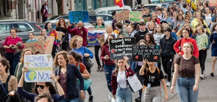 Menschenmenge, die auf einer Kundgebung marschiert