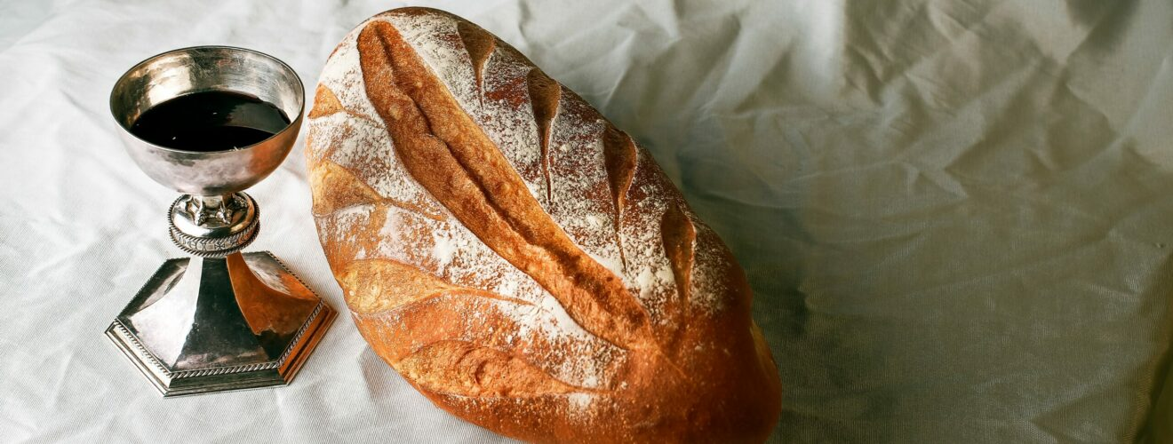 Bread and red wine as symbols of communion